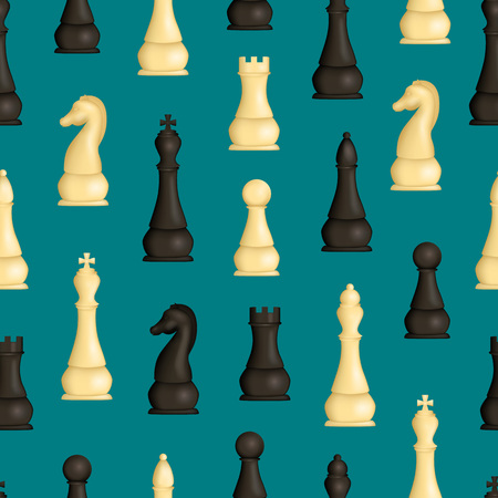Realistic Detailed 3d Wooden Chess Pieces Seamless Pattern Background. Vector Standard-Bild - 118410781