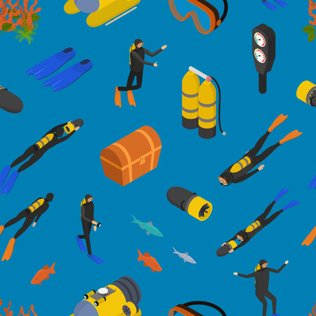 Scuba Diving Signs 3d Seamless Pattern Background Isometric View Include of Snorkel and Mask. Vector illustration of Underwater Sport Icon