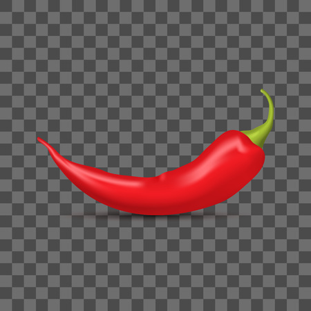 Realistic Detailed 3d Whole Red Hot Chili Pepper on a Transparent Background Spice Ingredient of Food. Vector illustration of Spicy Element Standard-Bild - 118090080