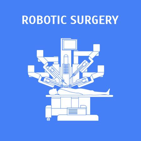 Cartel de tarjeta de concepto de cirugía robótica de dibujos animados con tecnología robótica médica para el estilo de diseño plano de elemento de operación. Ilustración vectorial