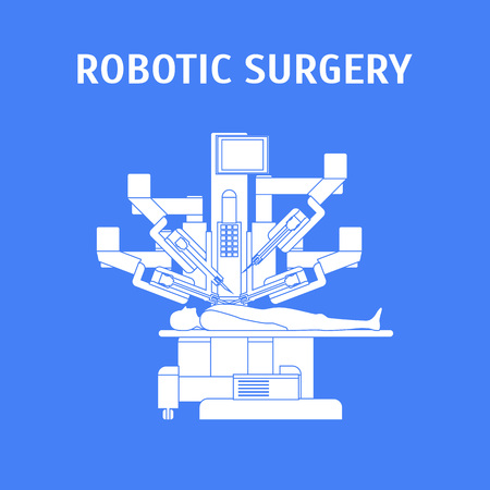 Cartoon Robotic Surgery Concept Card Poster Ad Medical Robotic Technology for Operation Element Flat Design Style. Vector illustration