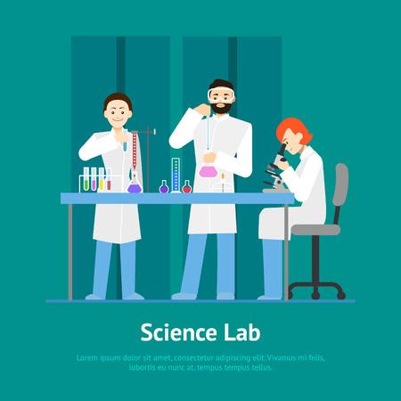 Cartoon Scientists Working at Lab Concept Card. Vector Standard-Bild - 118410805