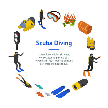 Scuba Diving Signs 3d Banner Card Circle Isometric View Include of Snorkel and Mask. Vector illustration of Underwater Sport Icon Illustration