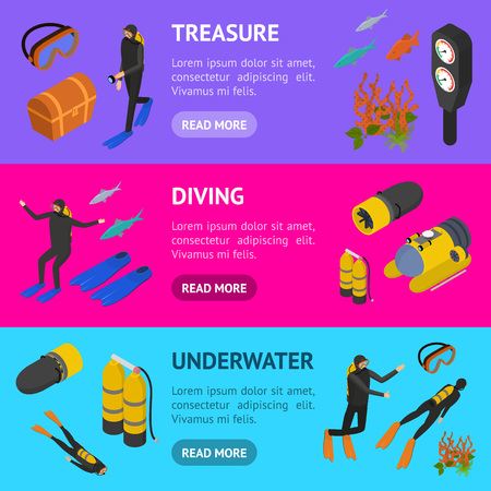 Scuba Diving Signs 3d Banner Horizontal Set Isometric View. Vector Standard-Bild - 118410807