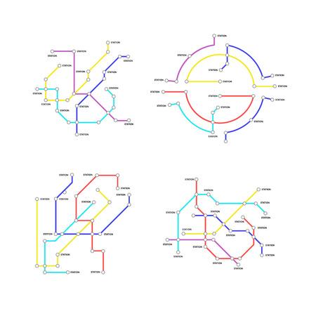 Metro Map Signs Color Thin Line Icon Set. Vector Standard-Bild - 118410810