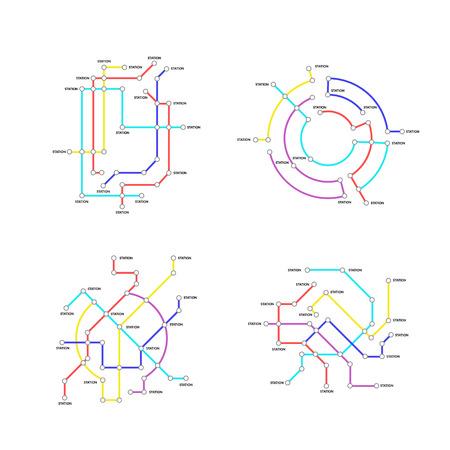 Metro Map Signs Color Thin Line Icon Set. Vector Standard-Bild - 118410814