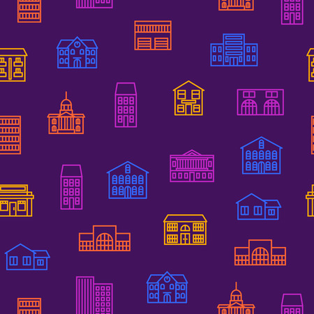 Property House Signs Thin Line Seamless Pattern Background Include of Building, Construction, Hotel, Cottage and Skyscraper. Vector illustration