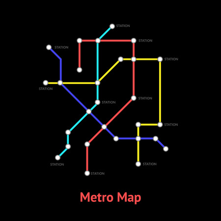 Metro Map Sign Color Thin Line Card. Vector Standard-Bild - 118410818