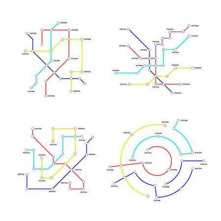Metro Map Signs Color Thin Line Icon Set. Vector Standard-Bild - 118410819