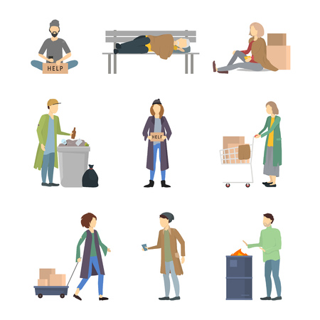 Cartoon Characters Homeless People Different Types Set Needy in Social Help Concept. Vector illustration of Poor and Dirty Person
