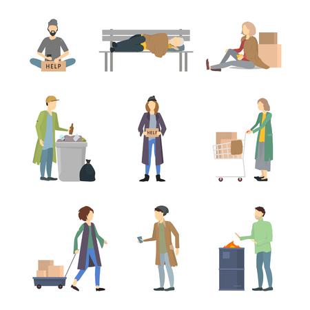 Zeichentrickfiguren Obdachlose verschiedene Arten setzen Bedürftige im Konzept der sozialen Hilfe. Vektor-Illustration der armen und schmutzigen Person