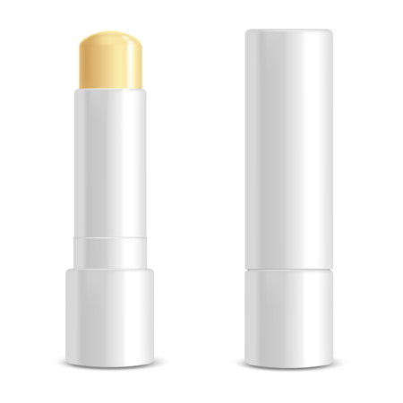 Realistic 3d Detailed White Blank Lip Balm Stick Template Mockup Set Female Cosmetic for Care. Vector illustration of Lipstick