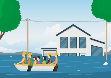 Cartoon Rescue Boat Team Card Background Landscape Emergency and Survival Elements Scene Concept Flat Design. Vector illustration