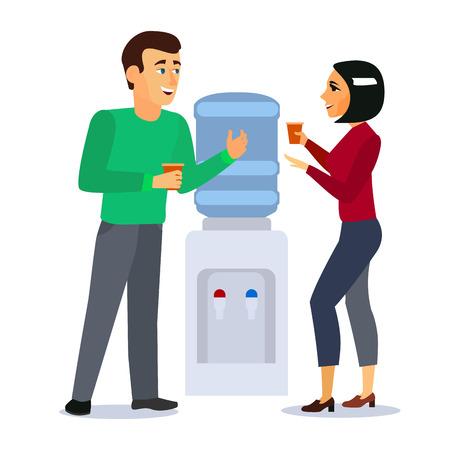 Personaggi dei cartoni animati persone intorno Water Cooler Gossip Concept Corporate Talk e Conversation Element Flat Design Style Illustrazione vettoriale Vettoriali