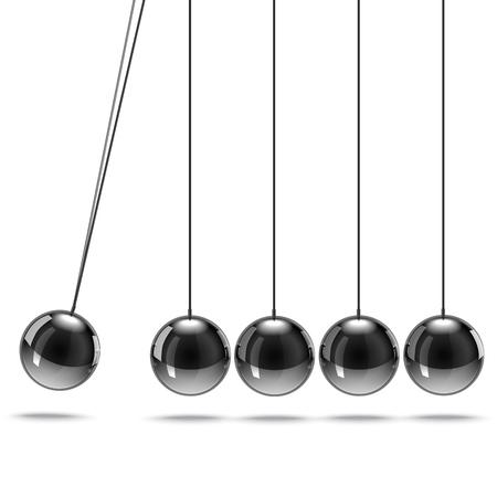 Realistic 3d Detailed Metallic Newtons Cradle or Pendulum Business Balance Motion Concept. Vector illustration of Hanging Balls