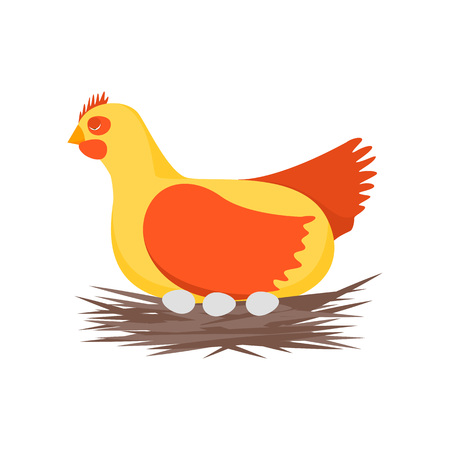 Cartoon Character Happy Hen and Nest Cute Chicken Concept Element Flat Design Style. Vector illustration of Character Domestic Bird