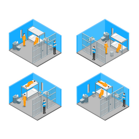 Modern Prison Interior with Furniture and People Isometric View Crime and Punishment Concept. Vector illustration of Scene with Convict Standard-Bild - 124506581