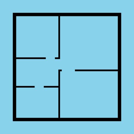 Apartment Floor Plan Top View Black Thin Line Living Rooms Concept Design Style. Vector illustration of Floorplan