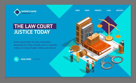 Concepto de composición de justicia de ley Plantilla de página web de aterrizaje Vista isométrica 3d. Vector
