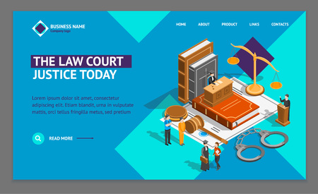 Law Justice Composition Concept Landing Web Page Template 3d Isometric View. Vector