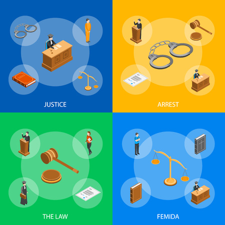 Law Justice Composition Concept 3d Isometric View Include of Court, Judge, Lawyer, Gavel, Legislation and Handcuff. Vector illustration