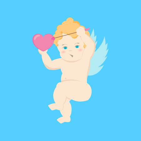 CartoonCharacter Cupid on a Blue Love Angel with Arrow and Heart Concept Element Flat Design Style. Vector illustration