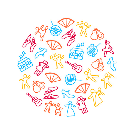 Dancing Signs Thin Line Icon Round Design Template Ad Include of Couple, Guitar, Singer and Pointes. Vector illustration of Icons