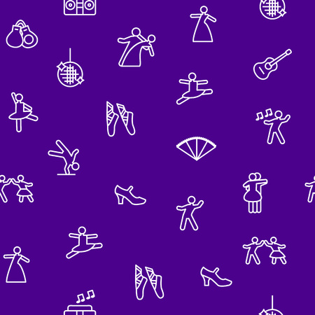 Dancing Signs Thin Line Seamless Pattern Background Include of Couple, Guitar, Singer and Pointes. Vector illustration of Icons