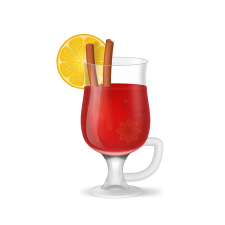 Realistic 3d Detailed Mulled Red Wine Isolated on a White Background Symbol of Traditional Spice Alcohol Drink. Vector illustration