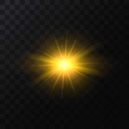 Realistic Detailed 3d Golden Star Light Sparkle on a Dark Background. Vector illustration of Magic Glittering Bright Effect Standard-Bild - 119041632