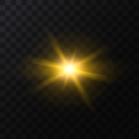 Realistic Detailed 3d Golden Star Light Sparkle on a Dark Background. Vector illustration of Magic Glittering Luxury Effect Standard-Bild - 119041630