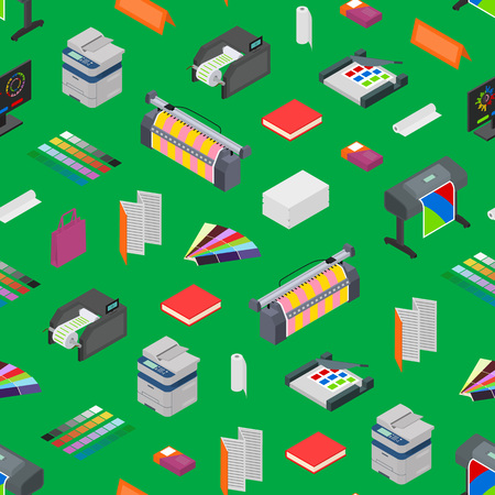 Printing Signs 3d Seamless Pattern Background Isometric View Include of Paper, Printer, Paint, Palette and Computer. Vector illustration of Icon Standard-Bild - 119040773