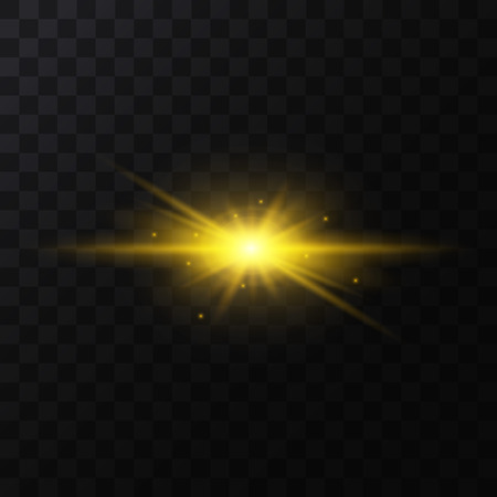 Realistic Detailed 3d Golden Star Light Sparkle on a Dark Background. Vector illustration of Magic Glittering Bright Decorative Effect Standard-Bild - 119040789