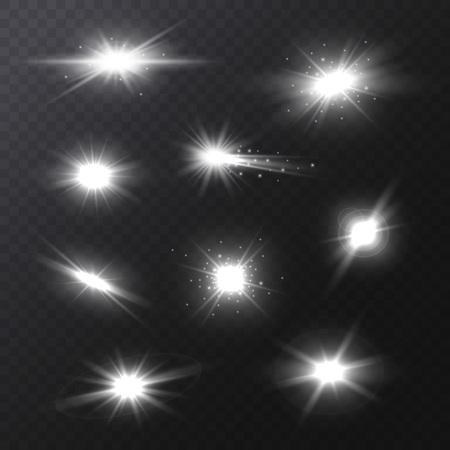 Realistic Detailed 3d Star Light Sparkles Set on a Dark Background. Vector illustration of Magic Glittering Bright Effect Standard-Bild - 119040810
