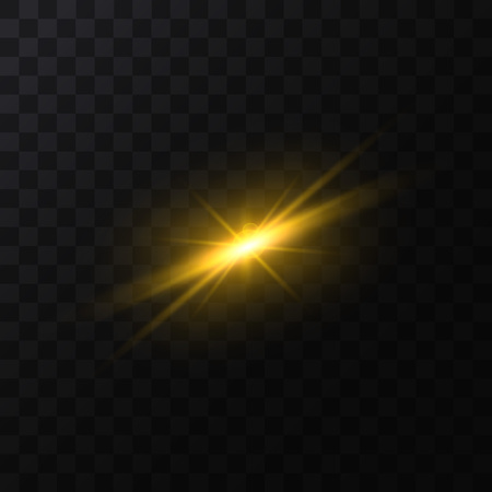 Realistic Detailed 3d Golden Star Light Sparkle on a Space Background. Vector illustration of Magic Glittering Bright Effect Standard-Bild - 119042150