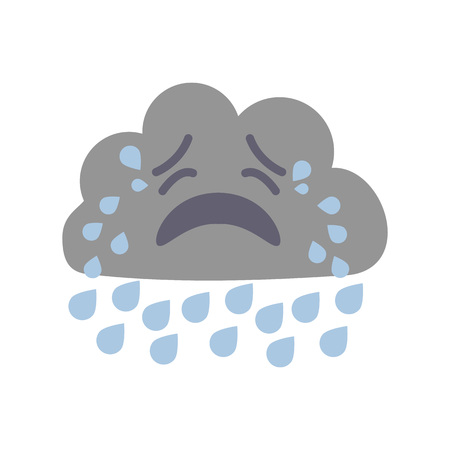 Cartoon Character Weather Forecast Sign Crying Cloud Flat Design Style. Vector illustration