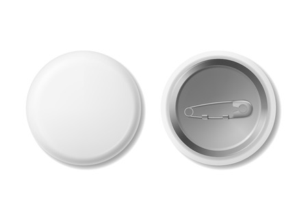 Realistic Detailed 3d White Blank Button Badge Empty Template Mockup Set Front and Back View. Vector illustration