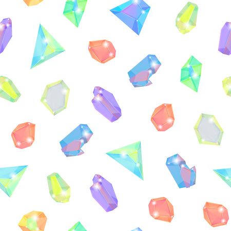Realistic Detailed 3d Color Crystal Stone Seamless Pattern Background on a White Mineral Gems for Jewelry. Vector illustration of Gemstone