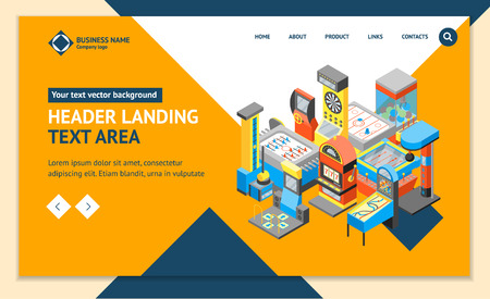 Game Machine 3d Landing Web Page Template Isometric View. Vector