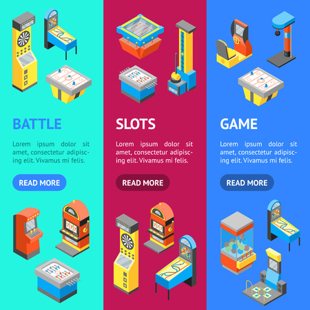 Game Machine 3d Banner Vecrtical Set Isometric View. Vector Vector Illustration