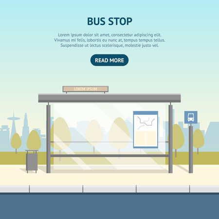 Cartoon Bus Stop Card Poster Ad Concept Scene Element Flat Design Style. Vector illustration of Public Transport in City