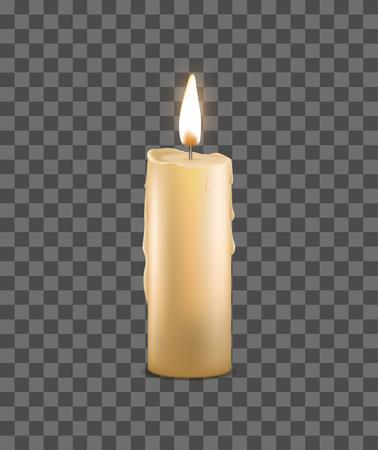 Bougie de cire brûlante 3d détaillée réaliste sur un fond transparent Symbole romantique et méditation aux chandelles. Illustration vectorielle Vecteurs