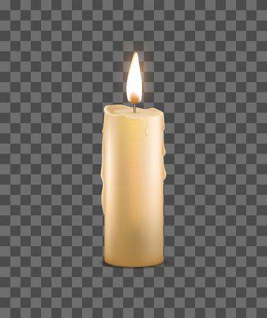 Realistic Detailed 3d Burning Wax Candle on a Transparent Background Candlelight Romantic and Meditation Symbol. Vector illustration