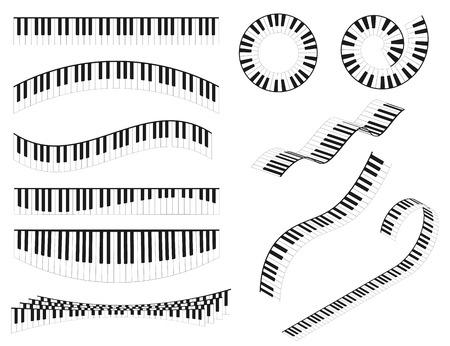Piano Keyboards Line Different Types Shape Set Classical Musical Instrument Concept for Graphic Web Design. Vector illustration Vektoros illusztráció