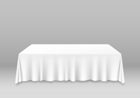 Realistyczne szczegółowe 3d biały pusty stół z makieta szablon obrus na bankiet lub uroczystości w kawiarni i restauracji. Ilustracja wektorowa Ilustracje wektorowe