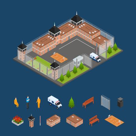 Prison Penitentiary und Elements Concept 3D isometrische Ansicht Gebäude Architektur Bau für kriminelle Person. Vektor-Illustration von Fassade und Landschaft
