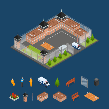 Prison Penitentiary and Elements Concept 3d Isometric View Building Architecture Construction for Criminal Person. Vector illustration of Facade and Landscape