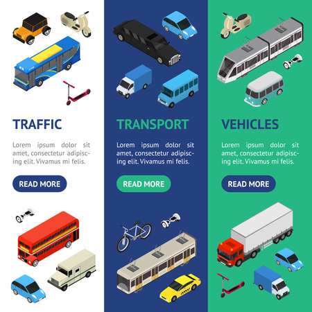 Transport Auto 3d Banner Vecrtical Set isometrische Ansicht. Vektor