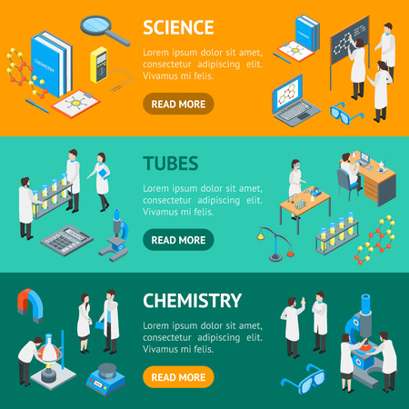 Science Chemical Pharmaceutical 3d Banner Horizontal Set Isometric View. Vector
