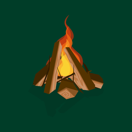 Cartoon Fire Wood and Campfire Bonfire on a Green Firewood Concept Flat Design Style. Vector illustration of Camp Element Illustration